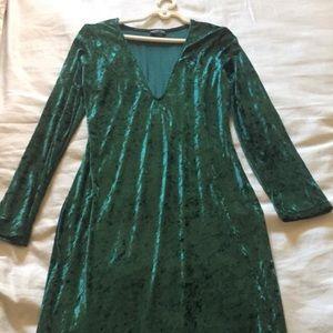 Green Velvet Fashion Nova Midi Dress